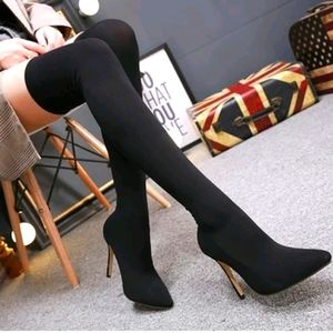 Stretch Fabric Sock Boots Pointy Toe Over the Knee